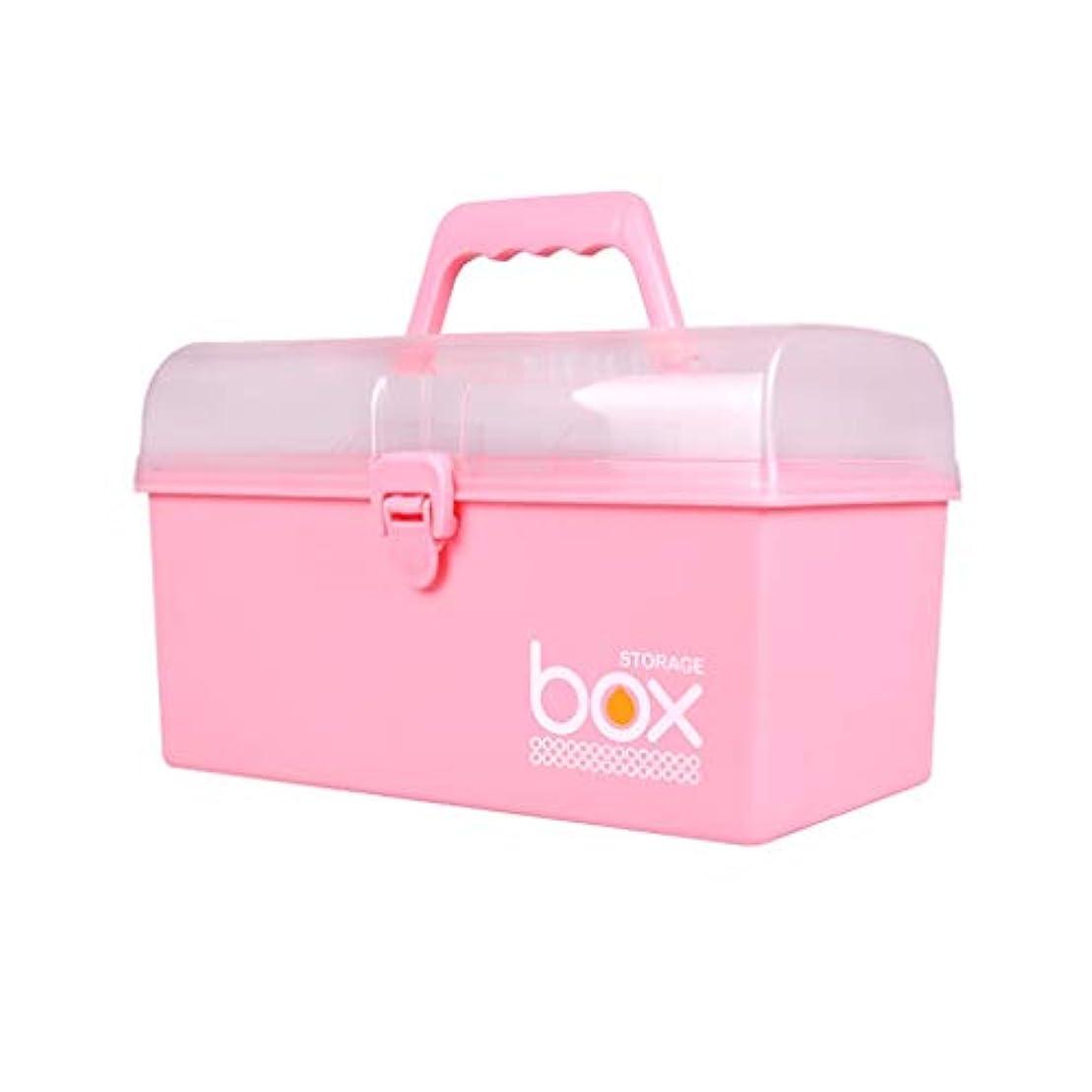 良心的体現する害WXYXG 家庭用薬箱子供用薬箱多層薬箱薬薬収納ボックス箱大応急処置箱医療キット (Color : Pink, Size : 27.5cm×16cm×15.7cm)