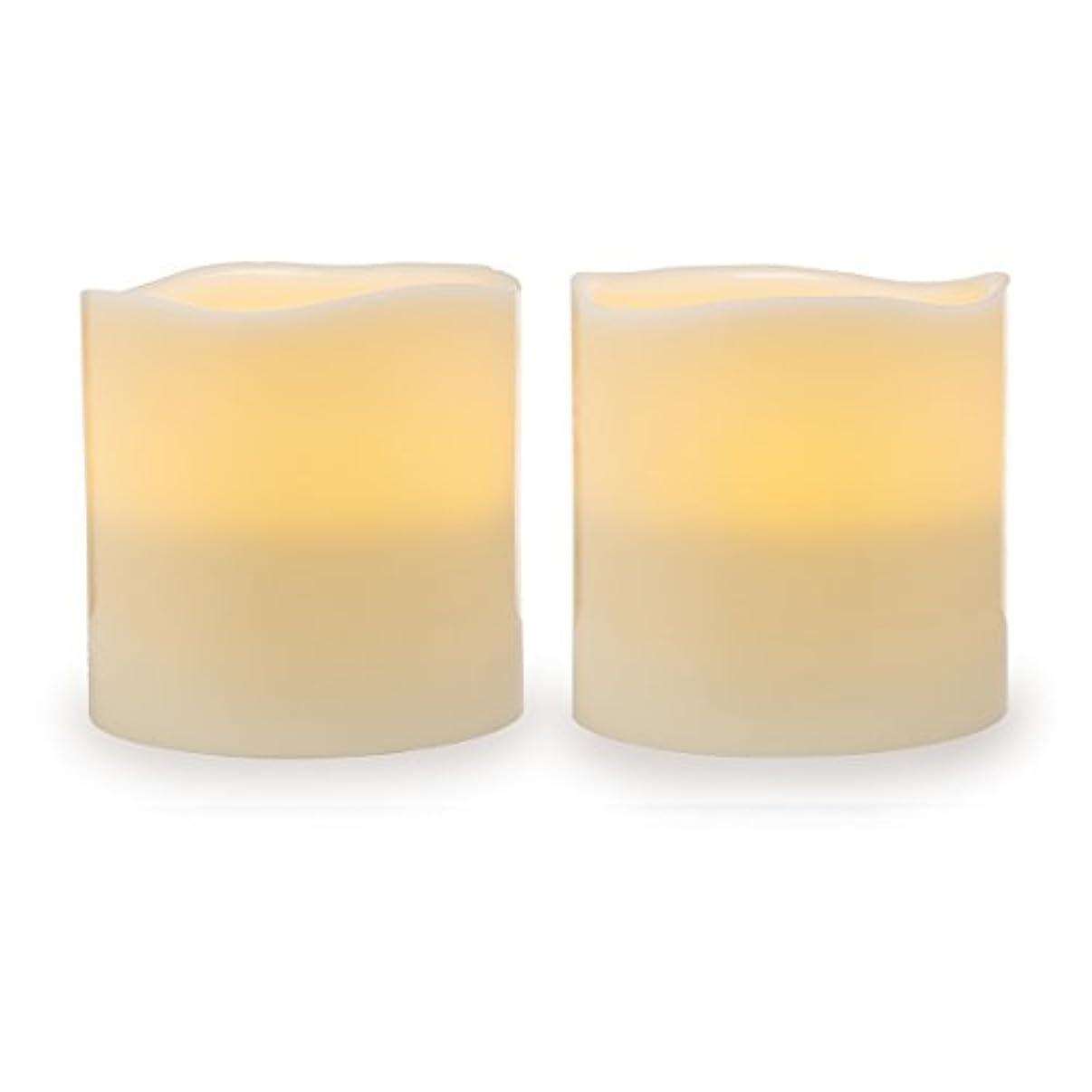 有効処分した縁石Darice電池式LED Pillar Candleセット、2ピース