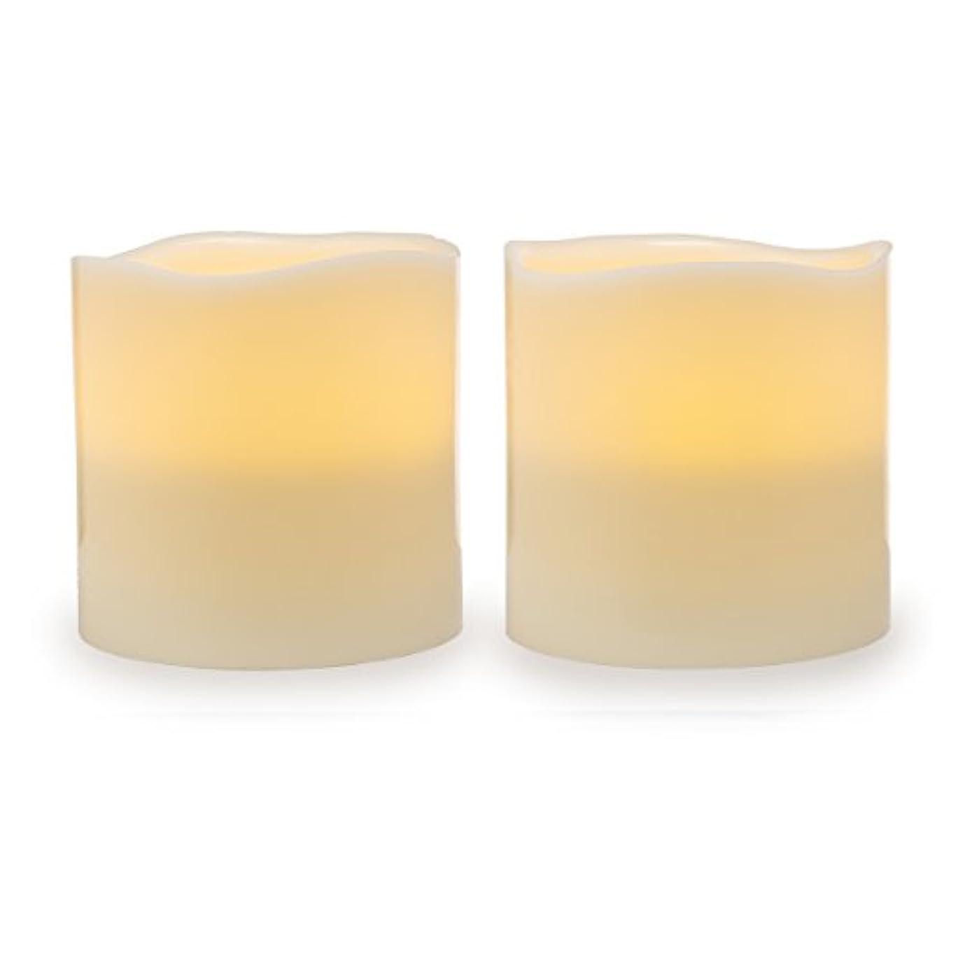 ラフ睡眠山岳言い聞かせるDarice電池式LED Pillar Candleセット、2ピース