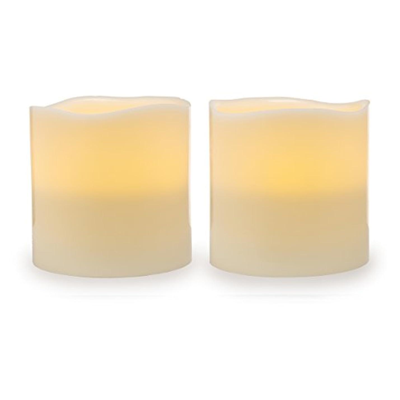 ガイドラインプレゼン無駄Darice電池式LED Pillar Candleセット、2ピース