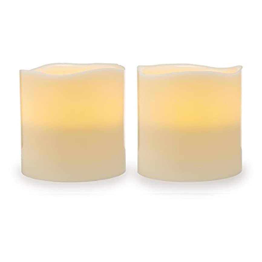 悲しいことに不調和ベンチャーDarice電池式LED Pillar Candleセット、2ピース