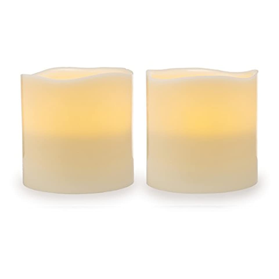 危険な符号選挙Darice電池式LED Pillar Candleセット、2ピース