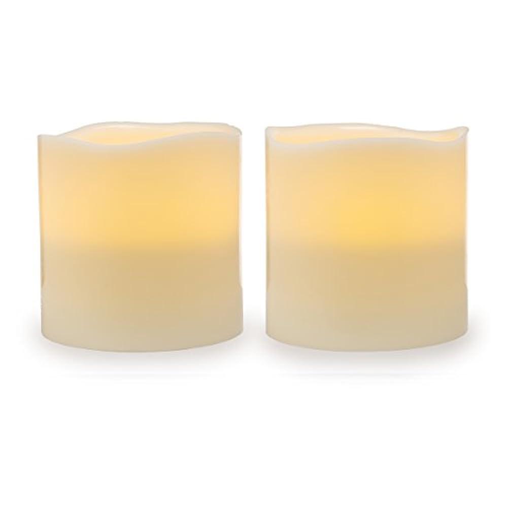 損なうそして逃れるDarice電池式LED Pillar Candleセット、2ピース