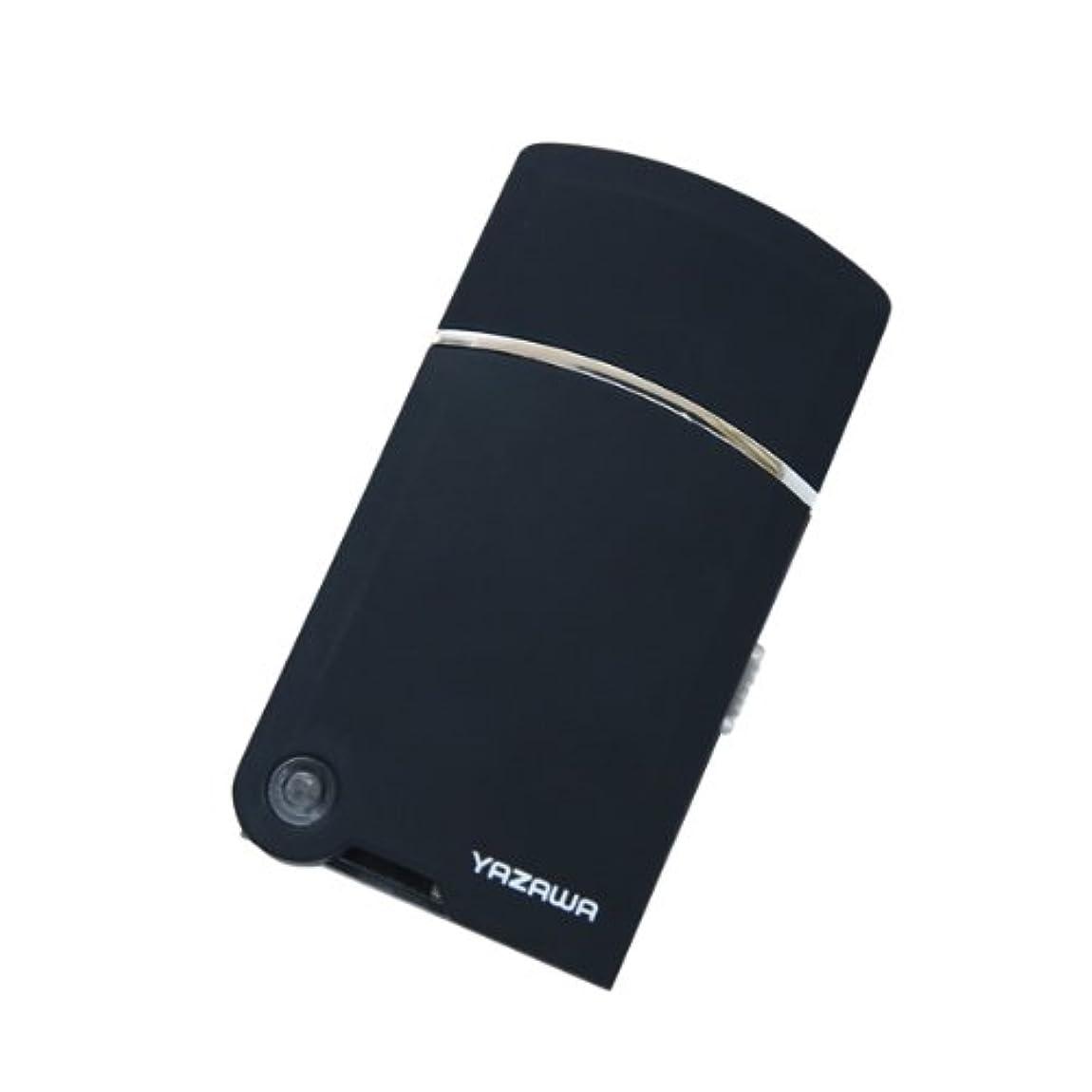 略語笑骨髄ヤザワ トラベルUSBシェーバー USB充電式 掃除用ブラシ付き TVR08BK