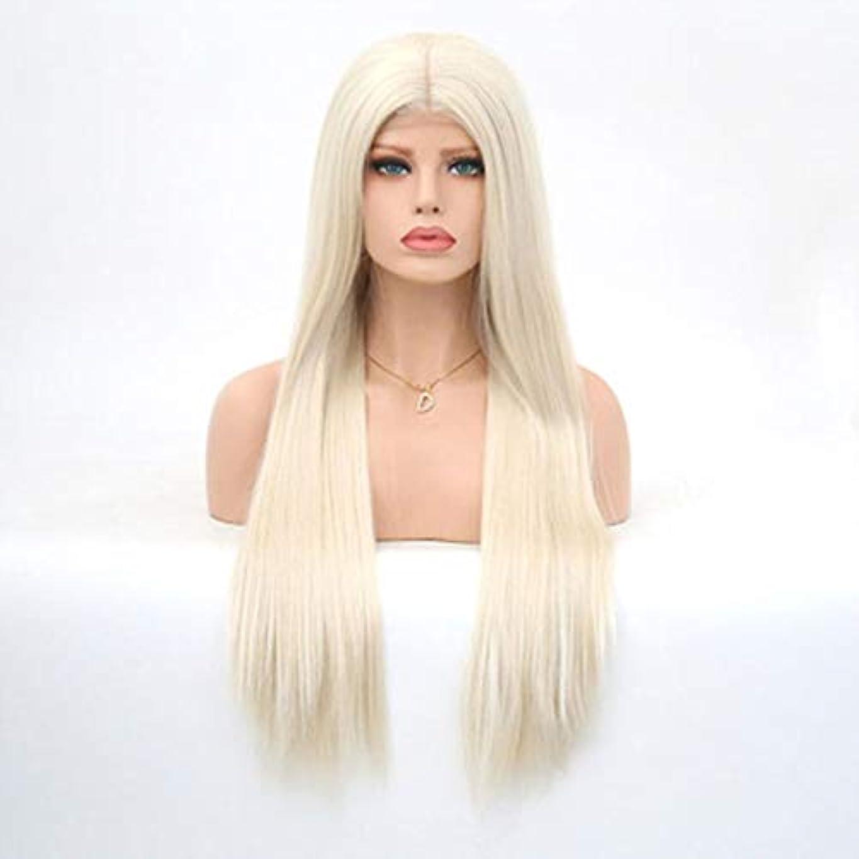 ストラトフォードオンエイボン美容師マングルZXF ヨーロッパとアメリカの化学繊維ウィッグセットハーフハンドフックフロントレースかつらヘッドカバーナチュラルレディースロングストレートヘア 美しい