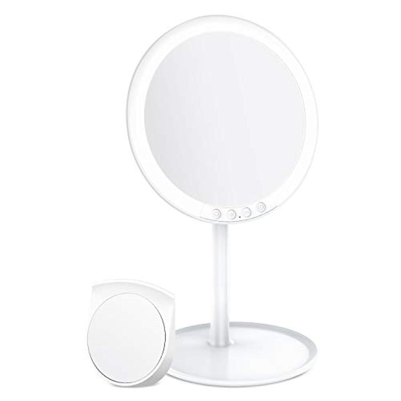 バッチ盲信影響するBESTOPE 化粧鏡 卓上ミラー 鏡 化粧ミラー 女優ミラー 充電式 led付き 7倍拡大鏡付き 寒暖色調節可能 明るさ調節可能 120°回転 ホワイト