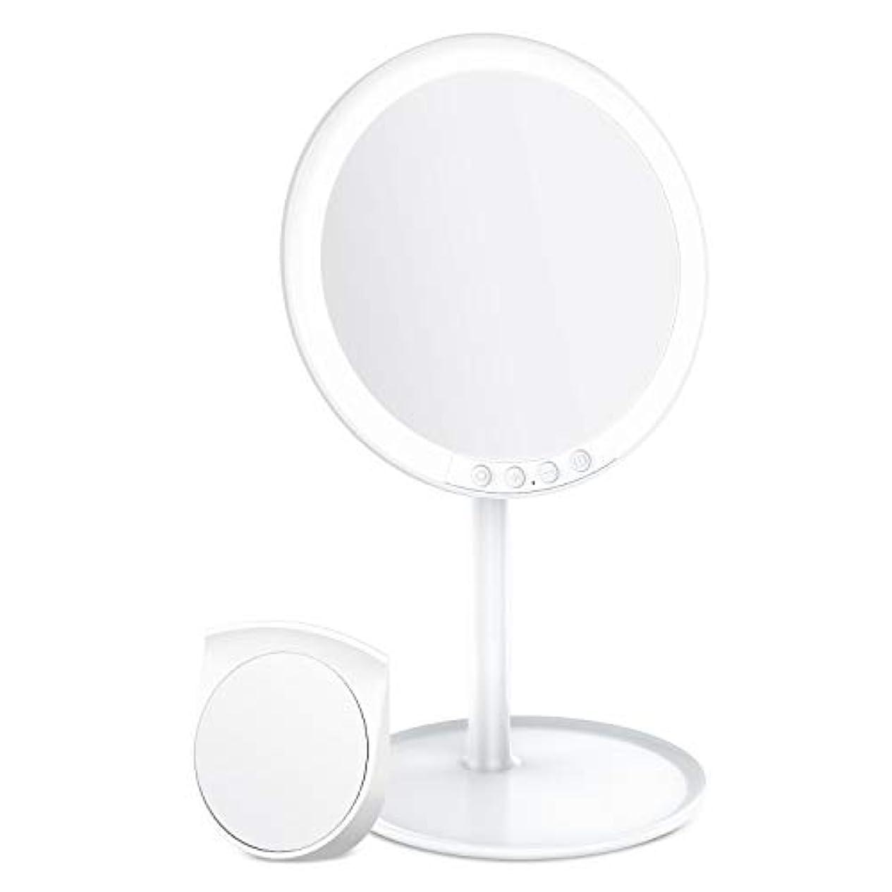 公爵夫人年金促すBESTOPE 化粧鏡 卓上ミラー 鏡 化粧ミラー 女優ミラー 充電式 led付き 7倍拡大鏡付き 寒暖色調節可能 明るさ調節可能 120°回転 ホワイト