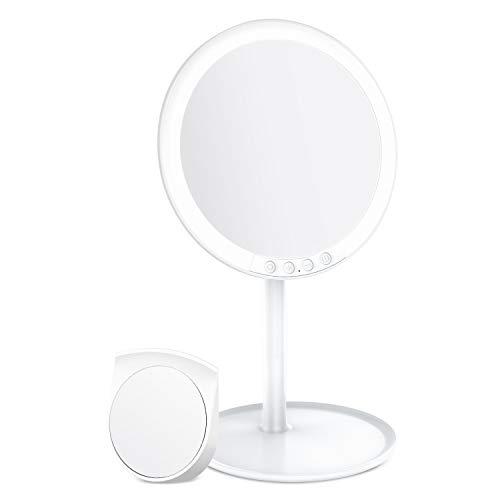 BESTOPE 化粧鏡 卓上ミラー 鏡 化粧ミラー 女優ミラー 充電式 led付き 7倍拡大鏡付き 寒暖色調節可能 明るさ調節可能 120°回転 ホワイト