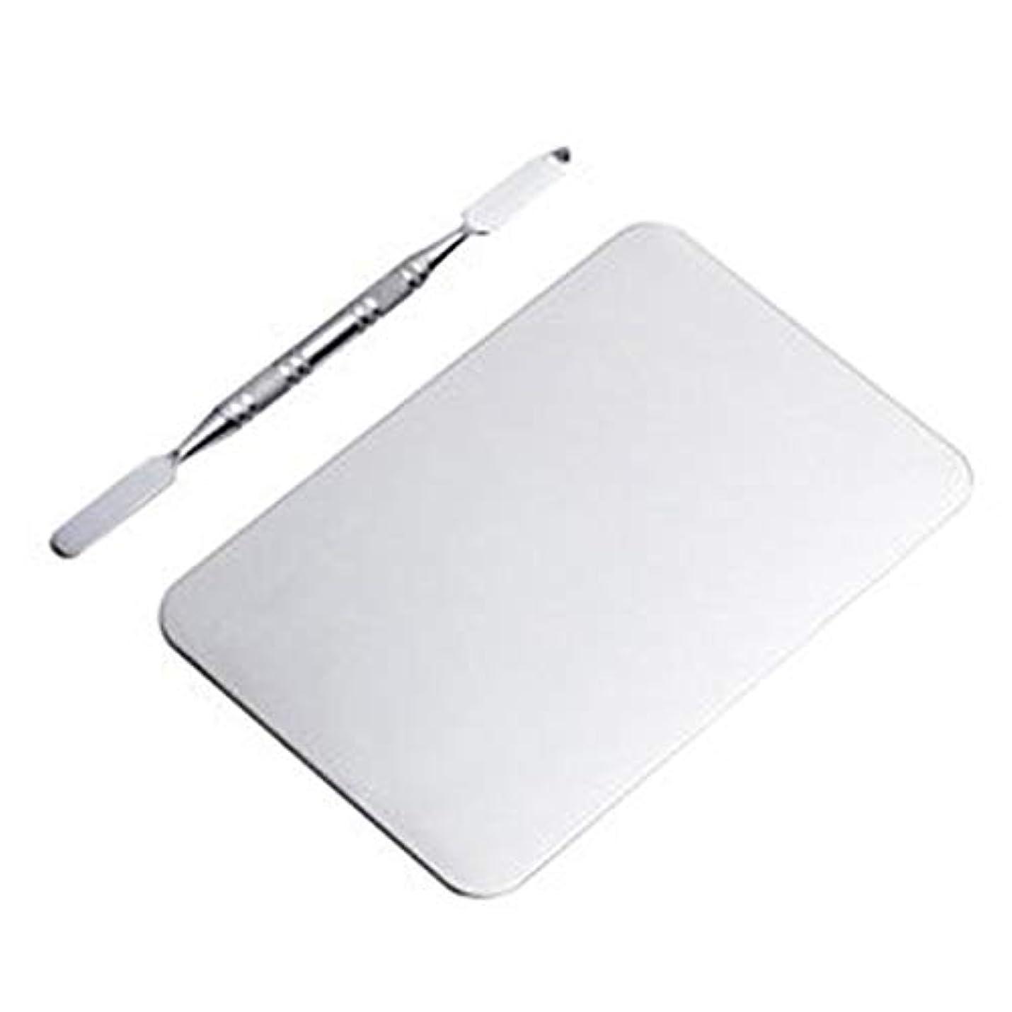 未払いパパ輝度サロン マニキュア カラーパレット メイクアップクリームファンデーションミキシングパレット 化粧品メイクアップツール ステンレス鋼板(115x75MM) (Color : Nonporous)
