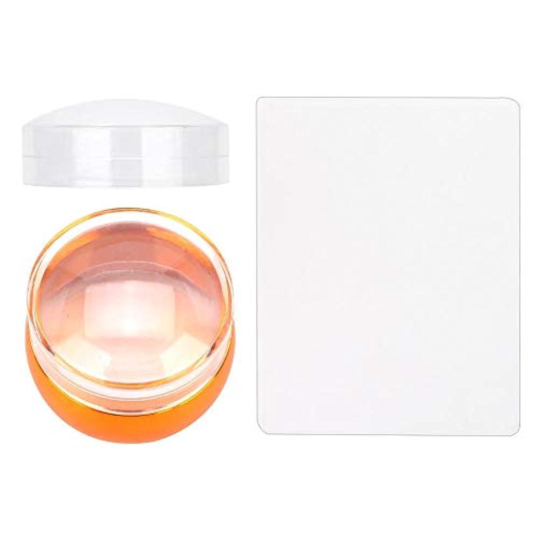 透明 DIY シリコーンスタンパーシールシリコーンヘッド ネイルスタンパーアートスクレーパー キャップスタンピングマニキュア 印刷ツールセット(03)