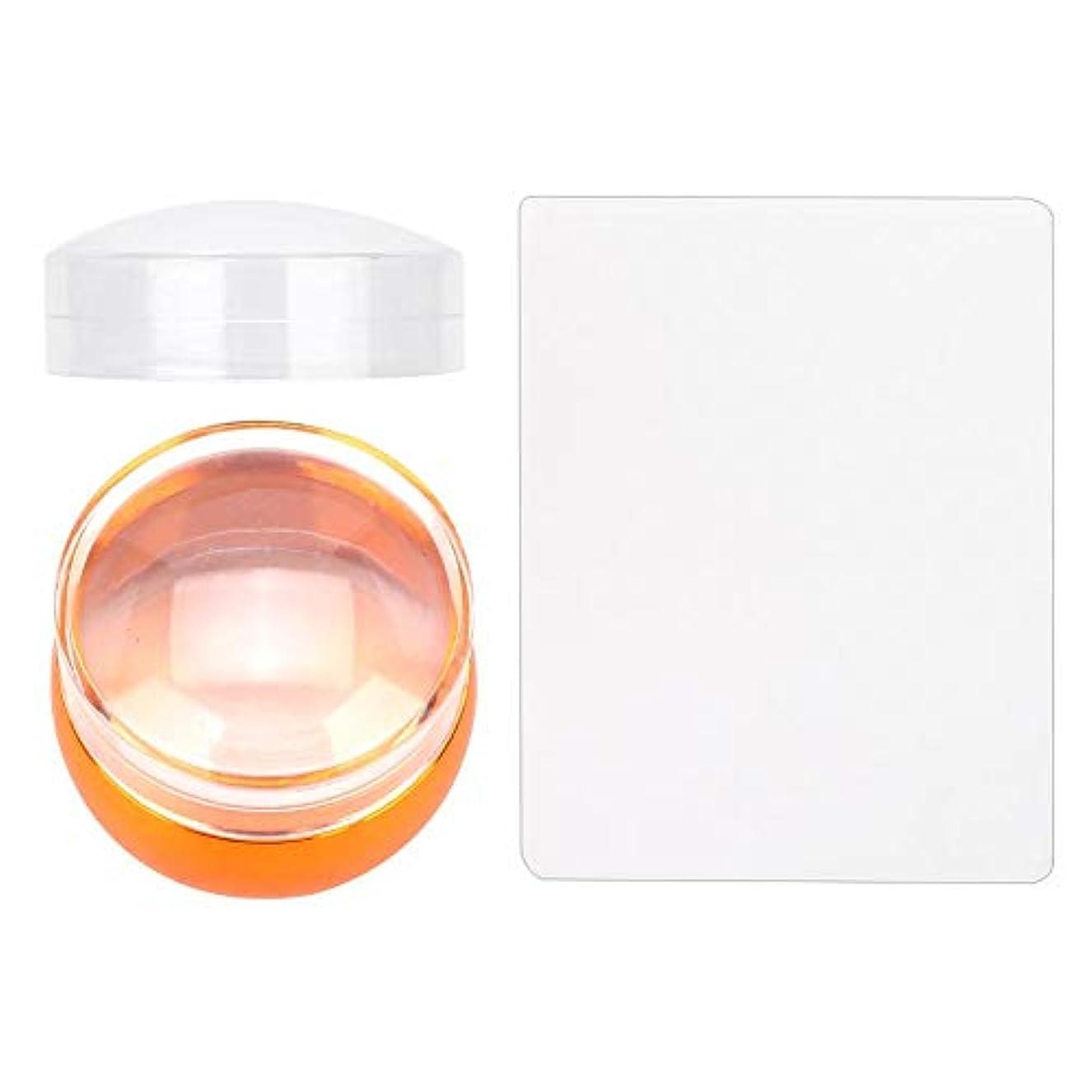 プラスきれいに健康的透明 DIY シリコーンスタンパーシールシリコーンヘッド ネイルスタンパーアートスクレーパー キャップスタンピングマニキュア 印刷ツールセット(03)