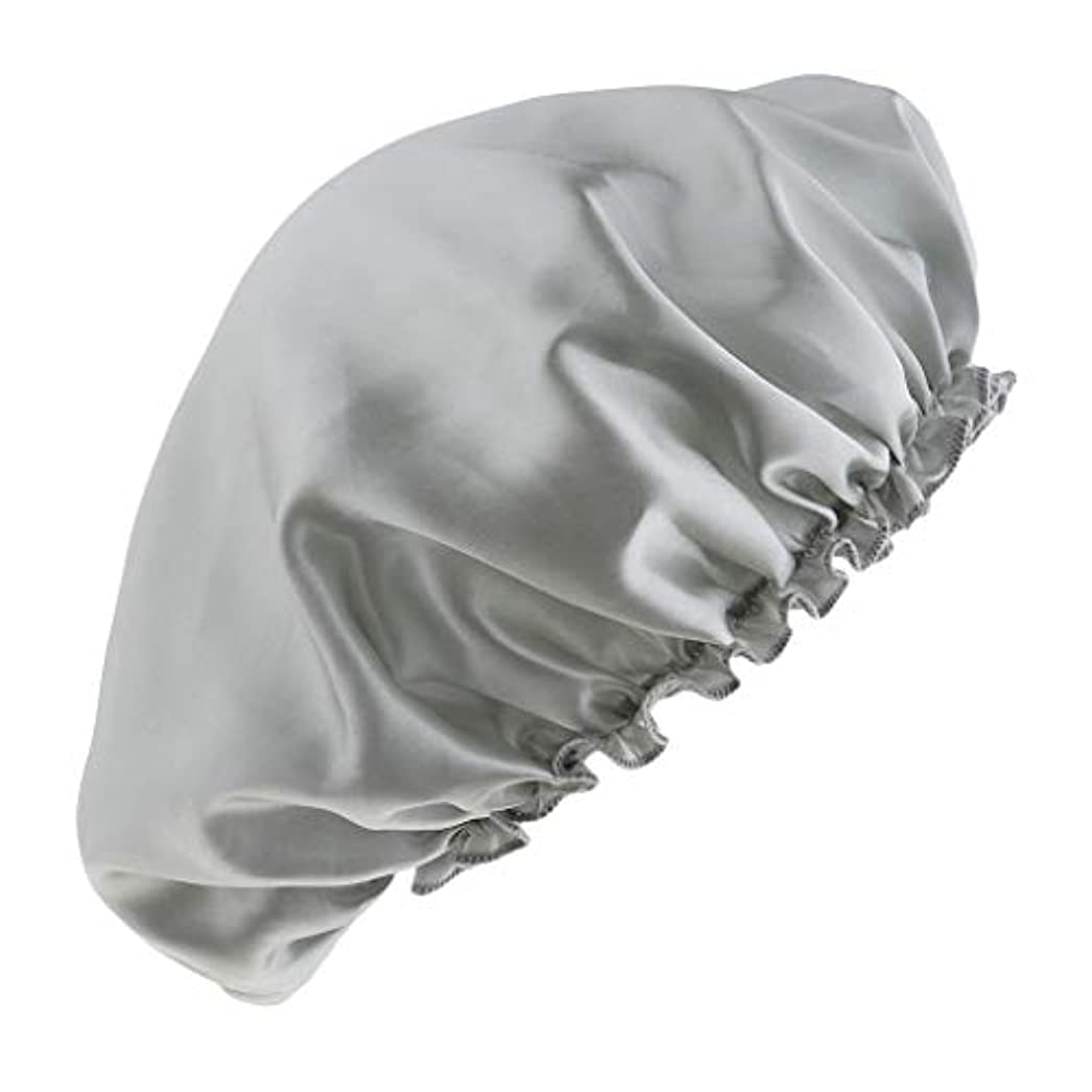キャラクター旋律的贅沢なシャワーキャップ シルクサテンキャップ シルクサテン帽子 美容ヘッドカバー 浴用帽子 全8色 - 銀