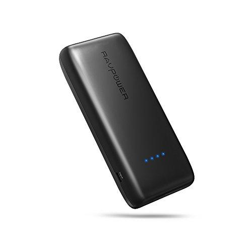モバイルバッテリー RAVPower 12000mAh ポータブル充電器 ( 大容量 コンパクト 軽量 急速充電 USB 2ポート ) iPhone / iPad / Android / ゲーム機 等対応(高性能のリチウムポリマー電池使用、iSmart2.0機能搭載)-ブラック