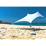 OZoola Beach Sunshade   Tent with Sandbags UPF 50+ UV Protection   Shade Canopy with 2 Lightweight Aluminum Poles, 4 Sandbag
