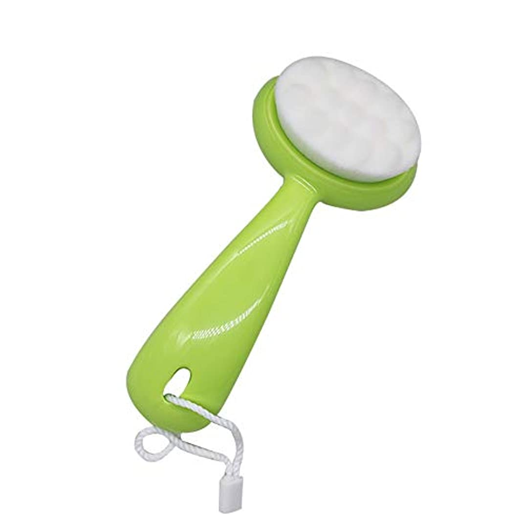 地上の孤独な禁止LYX ブラシ、マニュアルロングハンドル、ソフトの髪、クレンジングブラシ、ディープ毛穴クリーニングブラシ、クレンジング器、ブラックヘッド洗浄器の洗浄 (Color : 緑)