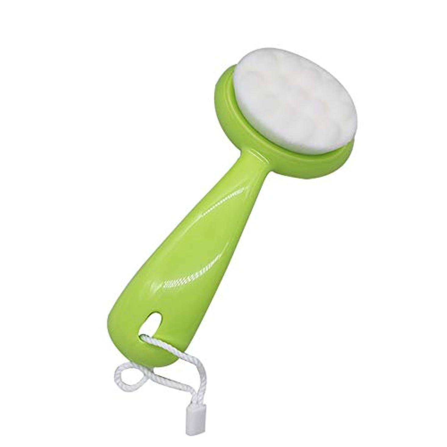 解説アンドリューハリディ作動するLYX ブラシ、マニュアルロングハンドル、ソフトの髪、クレンジングブラシ、ディープ毛穴クリーニングブラシ、クレンジング器、ブラックヘッド洗浄器の洗浄 (Color : 緑)