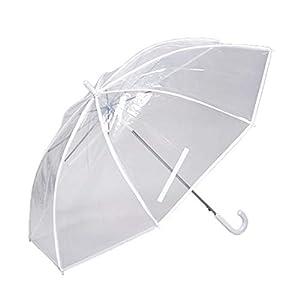 傘と日傘専門店リーベン(Lieben) 長傘 透明×ホワイト 70cmx8本骨 特大透明ジャンプ傘 LIEBEN-0637