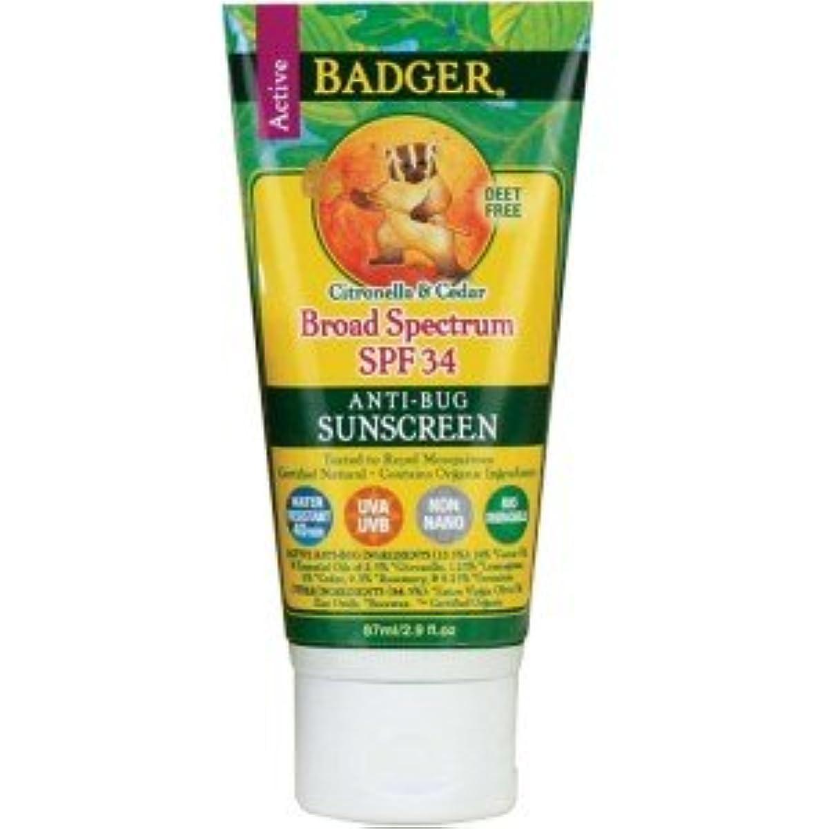 苗治療お[海外直送品] バジャー(Badger) サンスクリーン SPF30 87ml (虫よけ)