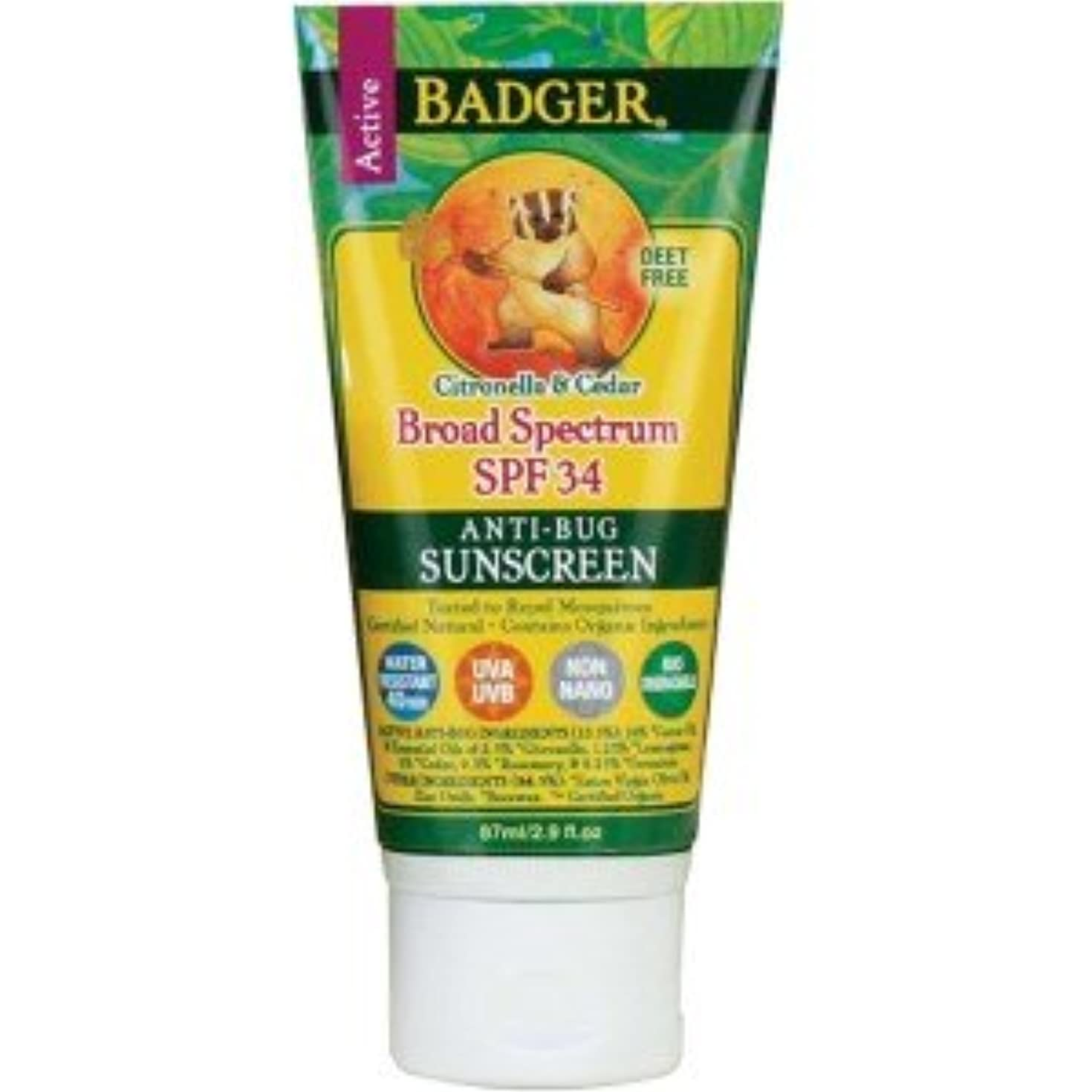 リスキーなタイプベール[海外直送品] バジャー(Badger) サンスクリーン SPF30 87ml (虫よけ)