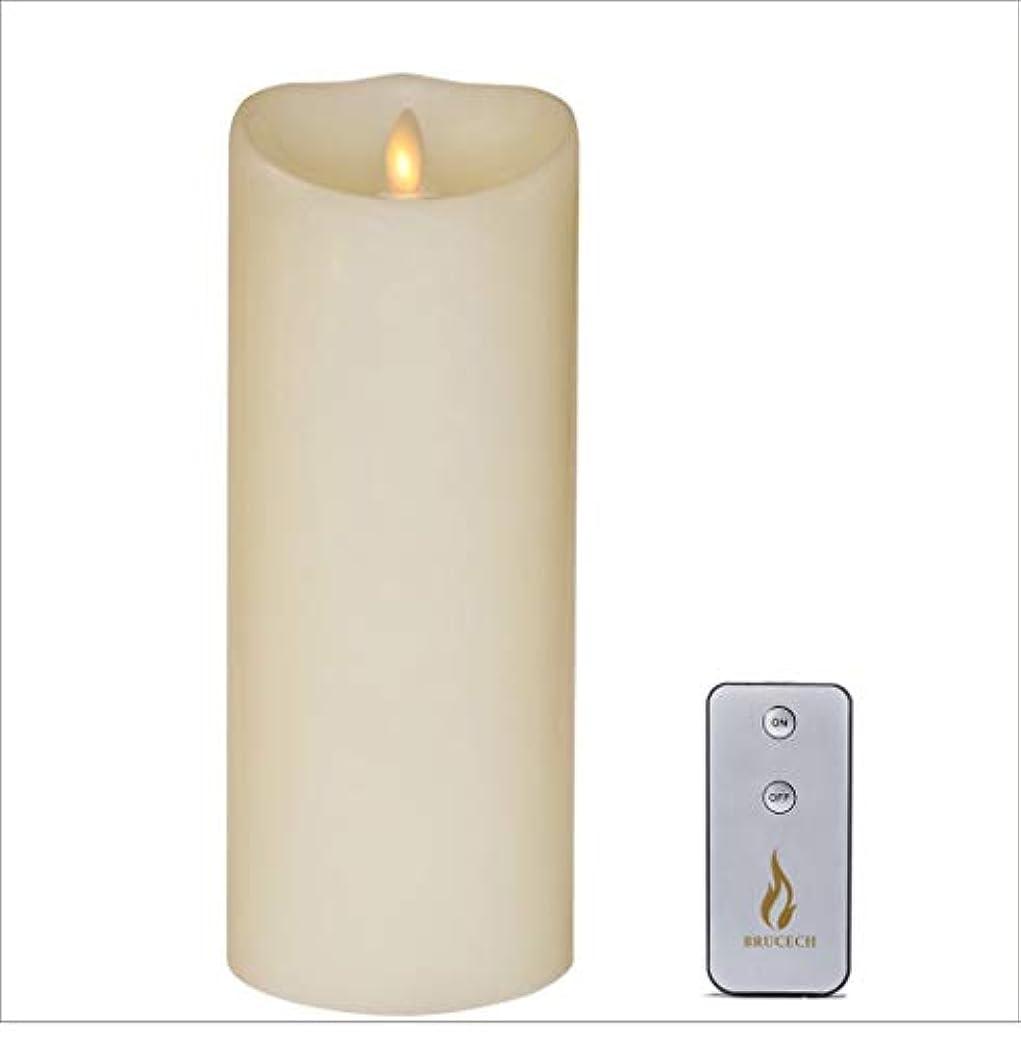 愛人あいにく手書きbrucech発光体LEDフレイムレスキャンドル、FlameランプWax Candle 3.5 X 22.86 CMアイボリーバニラwithタイマーリモート付属Lvory