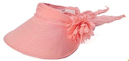 Parel (パレル) つば広 サンバイザー 日よけ帽子 3way コサージュ 紫外線 UV対策 レディース (オレンジ)