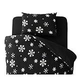 【単品】掛け布団カバー セミダブル 柄:雪 カラー:ブラック 32色柄から選べるスーパーマイクロフリースカバーシリーズ 掛布団カバー