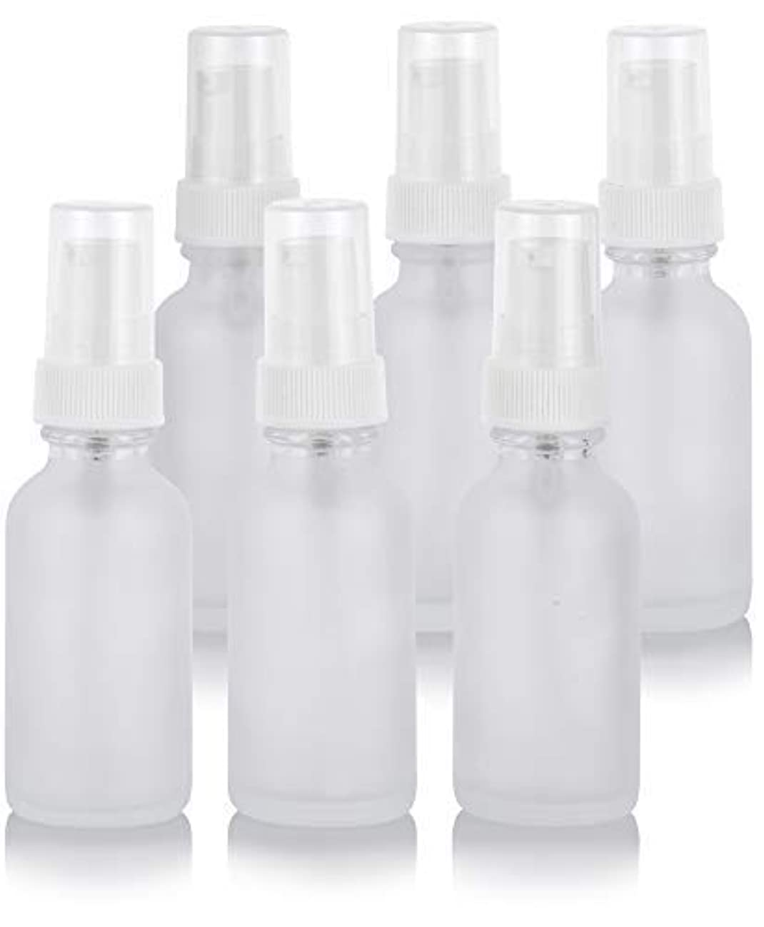 マサッチョ束ねる無条件1 oz Frosted Clear Glass Boston Round White Treatment Pump Bottle (6 Pack) + Funnel for Cosmetics, serums, Essential...