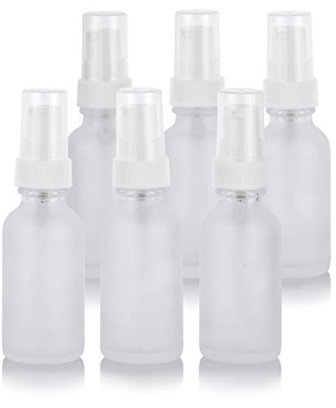 頬骨不完全昨日1 oz Frosted Clear Glass Boston Round White Treatment Pump Bottle (6 Pack) + Funnel for Cosmetics, serums, Essential...