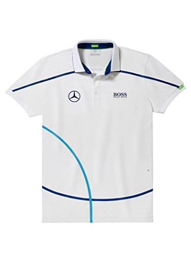 [해외]Mercedes-Benz Collection HUGO BOSS 남성 폴로 셔츠 화이트 | 네이비 M/Mercedes-Benz Collection HUGO BOSS Men`s Polo Shirt White | Navy M