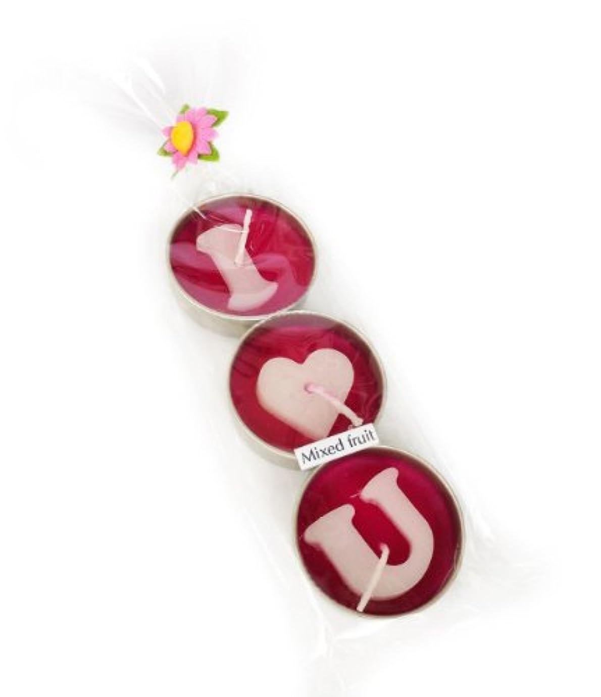 ニッケル協力する暖炉アロマキャンドル/ラブキャンドル/ILoveU/モーク/ロウソク/ろうそ/1パック3個入り/(1Pack  3pc I love U Candle) (Mixed Fruit)