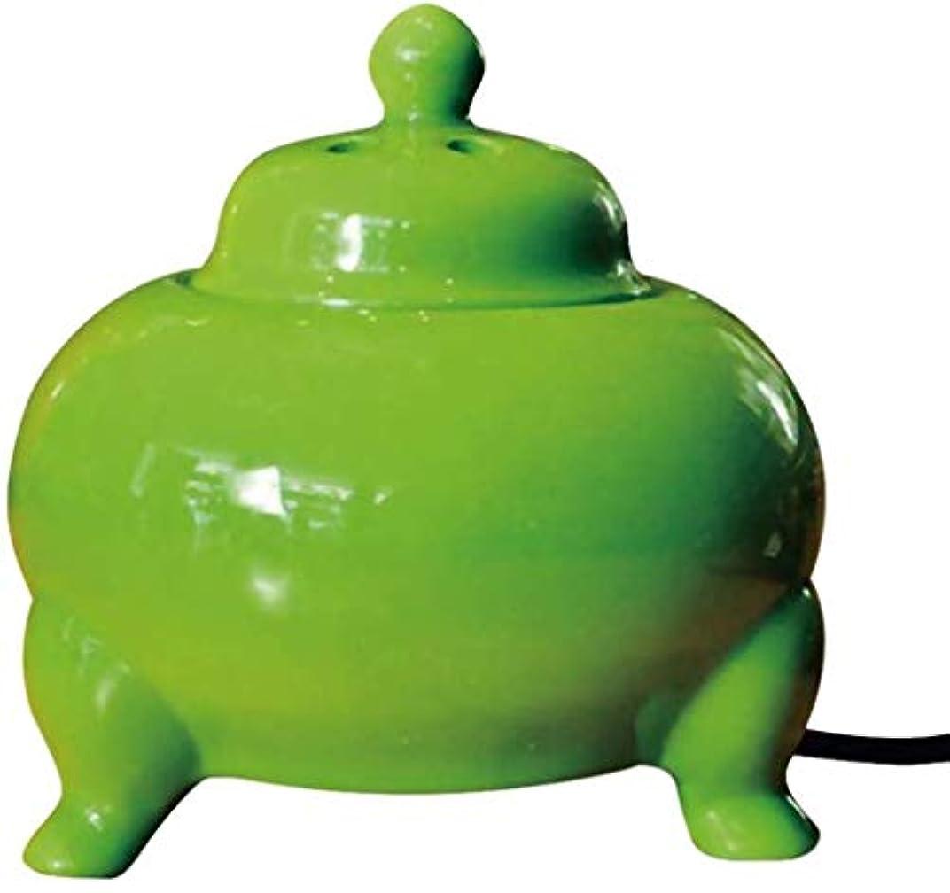 スイングカロリー目を覚ますMYTDBD 香炉電子セラミックアロマセラピー炉、温度制御と電気ディフューザーホーム磁器、グリーン、イエロー (Color : Green)