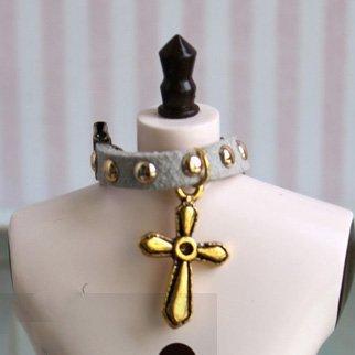 (ドーリア)Dollia ブライス ドール用アクセサリ 首輪 十字架 クロス ネックレス ネオブライス ネックアクセサリ (グレー)