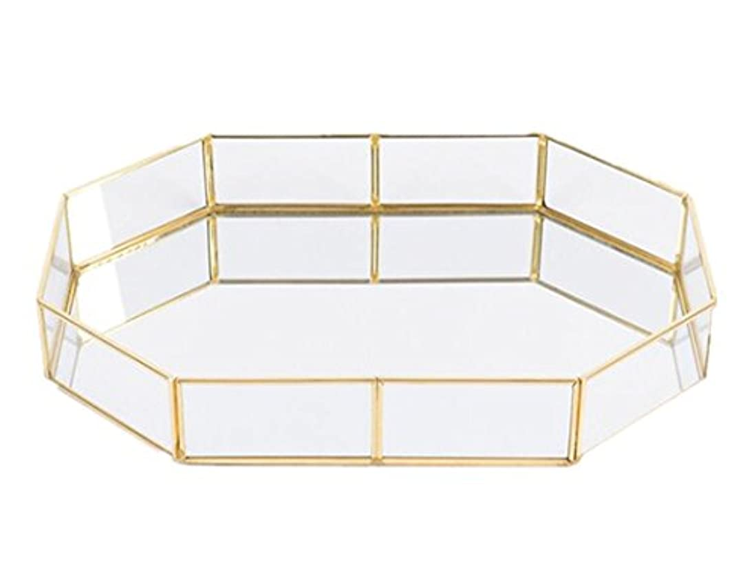 ポリゴン アンティーク調 トレー ガラスと真鍮でできたキャッシュトレー シャンパンゴールドガラス装飾表示&整理ガラス 現金 トレイ ジュエリ