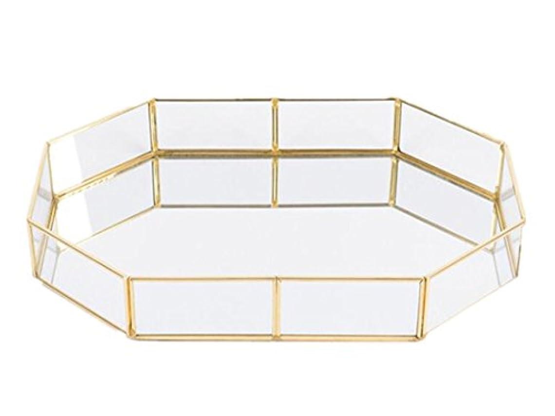 太鼓腹トースト写真のポリゴン アンティーク調 トレー ガラスと真鍮でできたキャッシュトレー シャンパンゴールドガラス装飾表示&整理ガラス 現金 トレイ ジュエリ