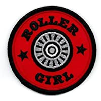 Roller Girl - Round Roller Skate Wheel Logo - 3 Embroidered Iron on or Sew on Patch by Engine House 13