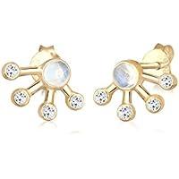 Elli Women Astro Topaz Moonstone 925 Sterling Silver Gold-Plated Earrings