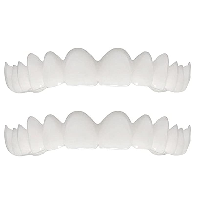 柔らかい歯の総義歯と合うシリコーンのシミュレーションの上下の総義歯(2セット),Colorbox