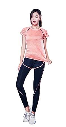 AOX BRRAEL シリーズ スポーツ トレーニング ヨガ ウェア レディース 上下 パンツ 半袖 セット アップ (S, オレンジ3点 セット)