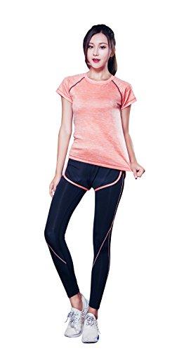 AOX BRRAEL シリーズ スポーツ トレーニング ヨガ ウェア レディース 上下 パンツ 半袖 セット アップ (M, オレンジ3点 セット)