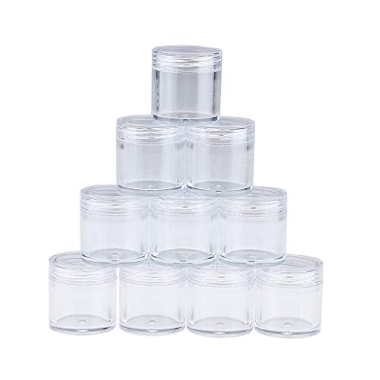 盟主下着余裕がある10個のプラスチック製の透明な空のクリームジャー、透明なスクリューキャップの蓋付きの化粧品サンプルラウンドポットコンテナ、メイクアップ用の小さなパウダーボトル - 10g(B)