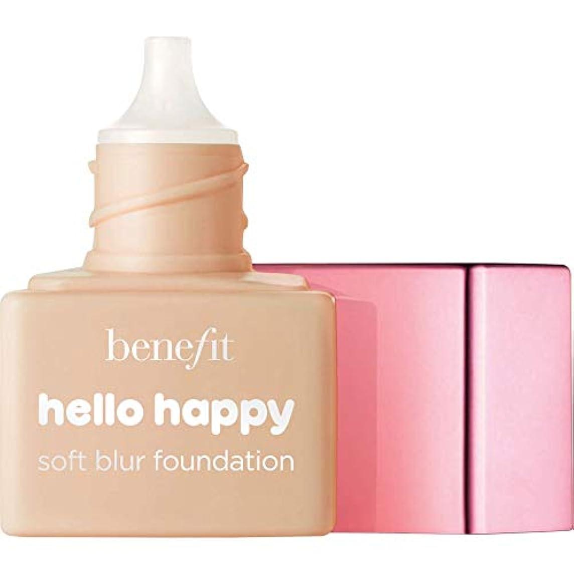 甘くする飲料辞任[Benefit ] ミニ4 - - こんにちは幸せソフトブラー基礎Spf15の6ミリリットルの利益中性媒体中 - Benefit Hello Happy Soft Blur Foundation SPF15 6ml -...