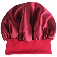 SUPVOX Sleep Night Cap Satin Wide Band Bonnet Night Head Cover Soft Hair Turbans for Women Hair Beauty Hair Care Cap Chemotherapy (Dark Red)56-58CM