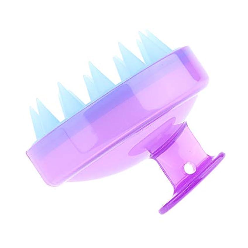 持っているリーフレット招待シリコン シャワーシャンプーブラシ マッサージャー 防水 超軽量 多色選べ - クリアパープル