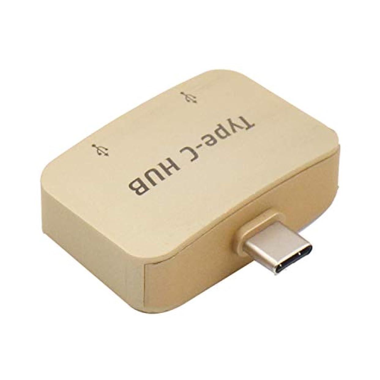 クリエイティブ威信警官SODIAL OTG Type-C USB CアダプターTypeC - USB 3.0コンバータ2 USBインターフェイスAndroidタブレット携帯電話ケーブル Huawei用(ゴールド)