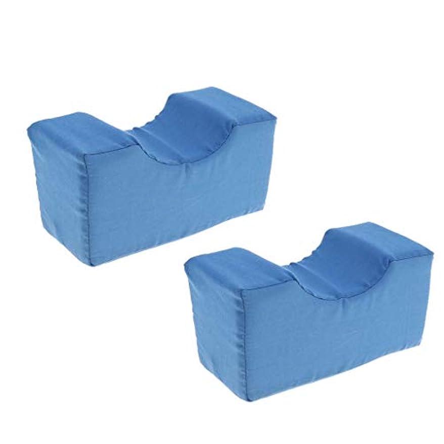 サイドスリーパー用2個の高密度フォームニーエレベーター枕-床ずれ防止、妊娠、ヒップ&坐骨神経痛用の整形膝枕