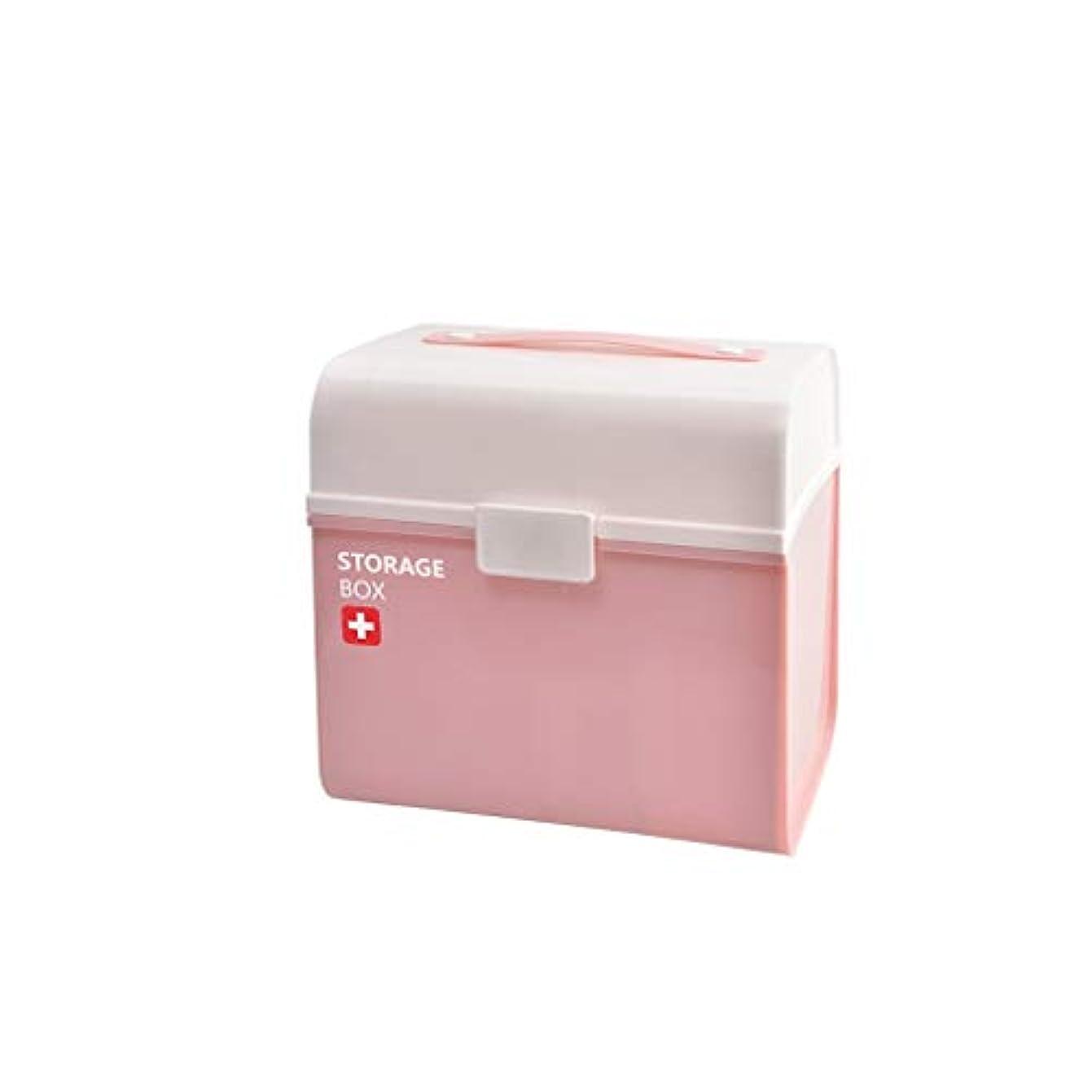 煩わしい知覚する食事を調理する家庭用多層薬箱ポータブルプラスチック薬収納ボックス大容量救急箱 Hyococ (Color : Pink)