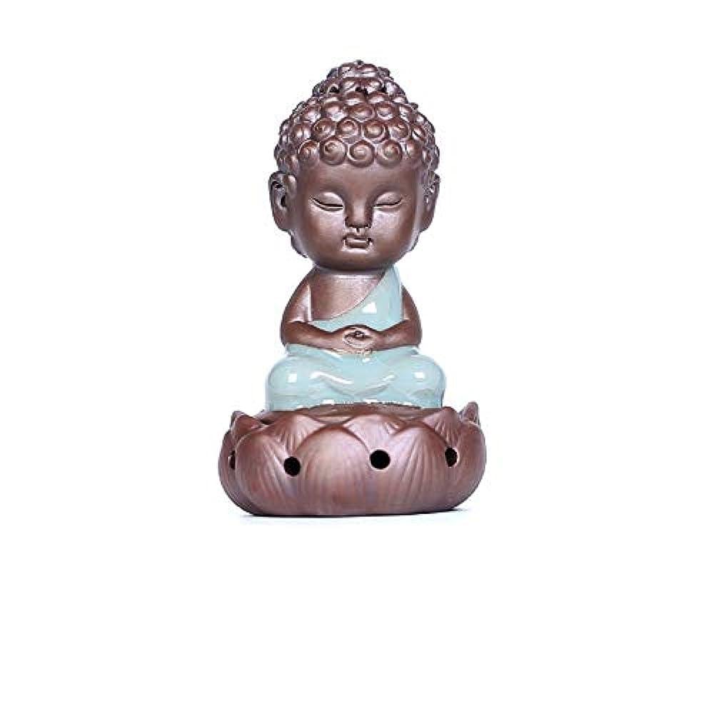 効能あるなぞらえる魅了する逆流香炉家族仏の装飾品セラミック仏像職人技ミニ瞑想禅のギフト香炉仏の装飾品12.5 * 7.5cm