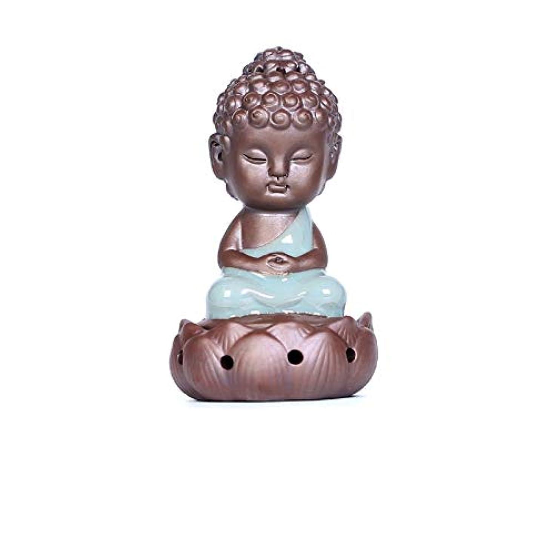 紀元前迷彩入場逆流香炉家族仏の装飾品セラミック仏像職人技ミニ瞑想禅のギフト香炉仏の装飾品12.5 * 7.5cm