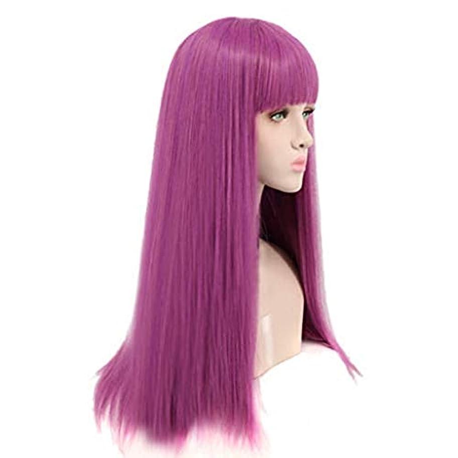 道に迷いました剣名前で[クストクエ]Kustoque ウィッグ ロング ストレートかつら wig 紫の パープル長い髪 姫髪 自然 原宿 耐熱 ネット付き 男女兼用 学生 変装 コスプレクリスマス学園祭