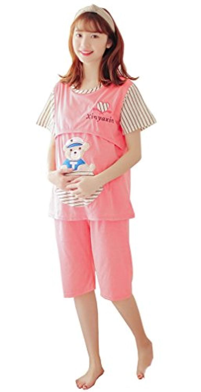 夏の薄い袖の短い袖の妊婦のパジャマの月子服の授乳服の綿の妊婦のパジャマは外出して乳衣の短袖のショートパンツのスーツのスーツに大きいコードを与えます (スイカレッド, L)